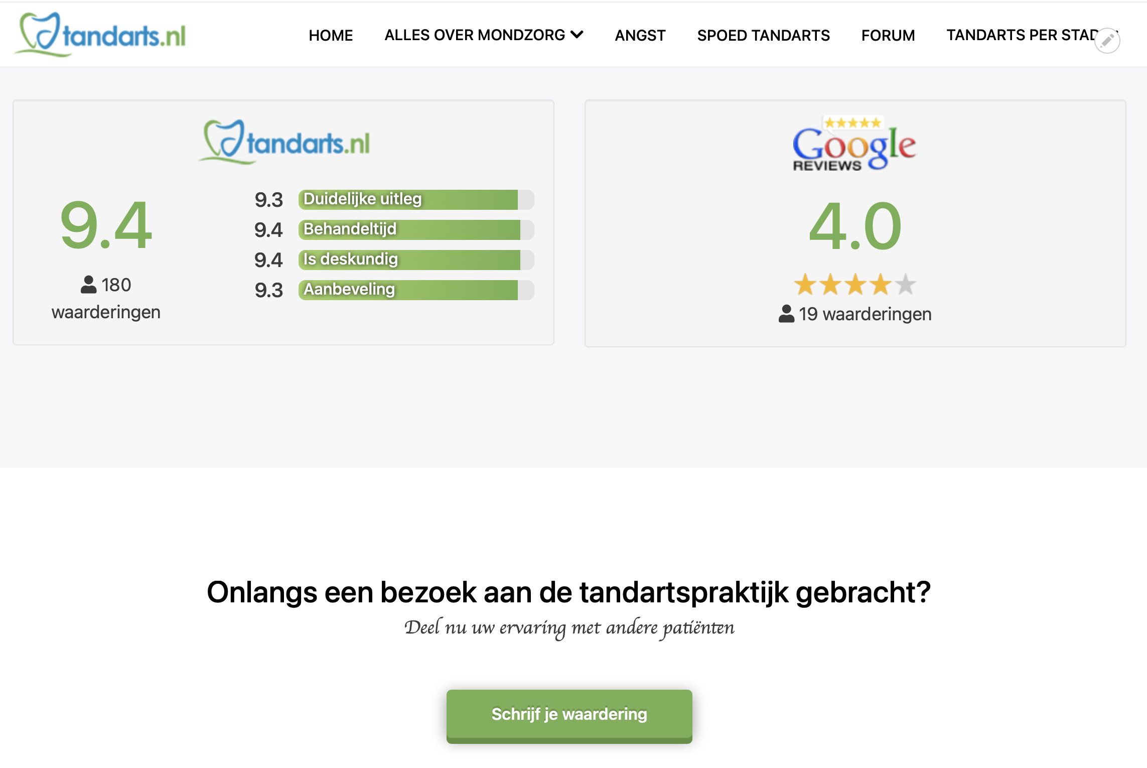 Weergave reviews van Google en Tandarts.nl